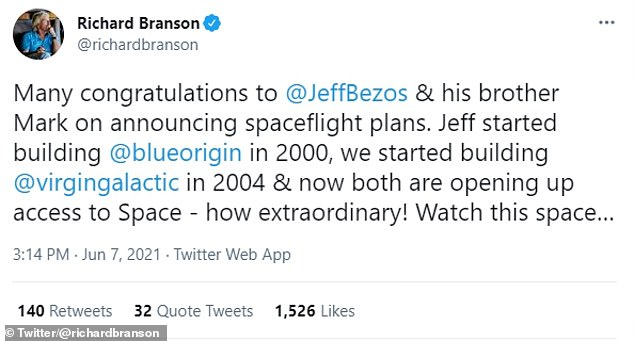 While Musk is yet to comment on the news, Branson has congratulated Bezos, describing how their two firms are 'opening up access to space'