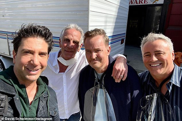 'Thanks for all those years':David also shared a photo of himself, Matthew Perry, and Matt LeBlanc reuniting with their first assistant director, Ben Weiss