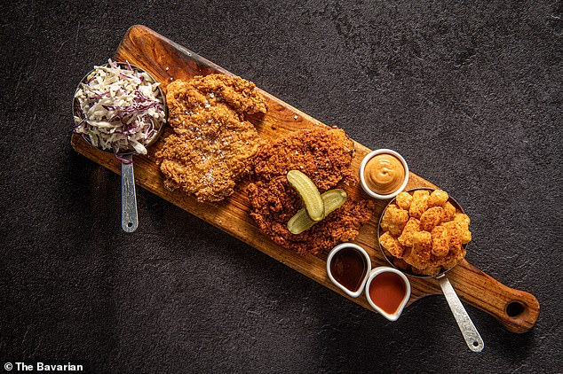 The $49 Southern Platter takes diners out of Deutschland and into America's deep south with Nashville rubbed fried chicken, southern fried chicken schnitzel, potato gems, cabbage slaw with chipotle mayo, Jack Daniel's BBQ sauce and buffalo sauce