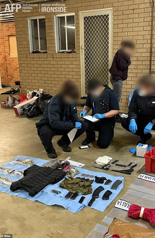 Police have charged 224 alleged offenders with 525 charges, shut down six clandestine laboratories and acted on 21 threats to kill, including saving a family of five. Pictured: weapons seized by detectives
