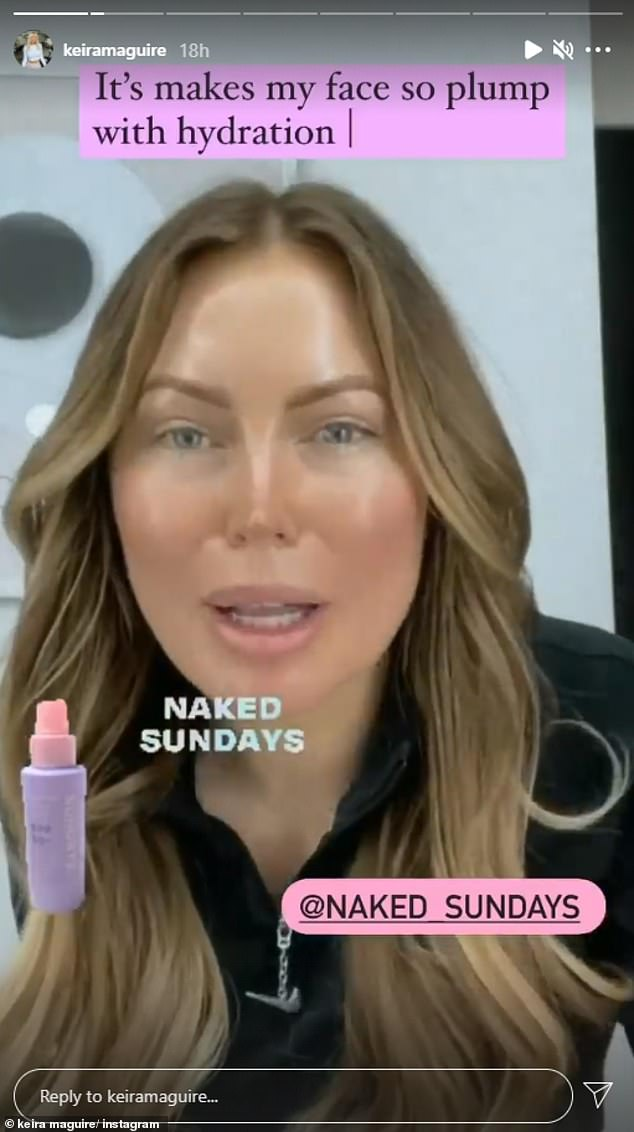 Is that you? Keira Maguire looked very different as she showed off a beauty product she loves on Monday