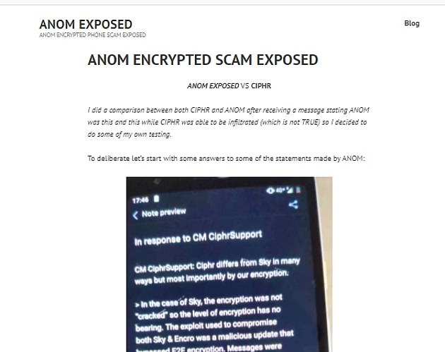 An anonymous tech geek posted a blog in March, titled 'AN0M ENCRYPTED SCAM EXPOSED', placing the mission into jeopardy