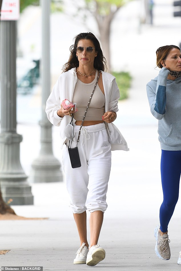 Working it! Alessandra Ambrosio maintained her runway figure as she hit up a Pilates class in Los Angeles on Monday afternoon