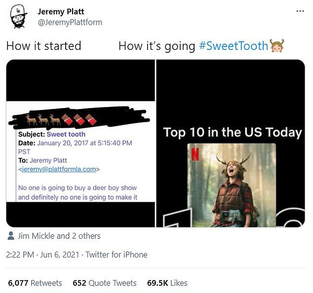 Look at him now:Platt, 41, joined in on the popular 'How it started/How it's going' meme format, which juxtaposes new and old photos for a surprising contrast