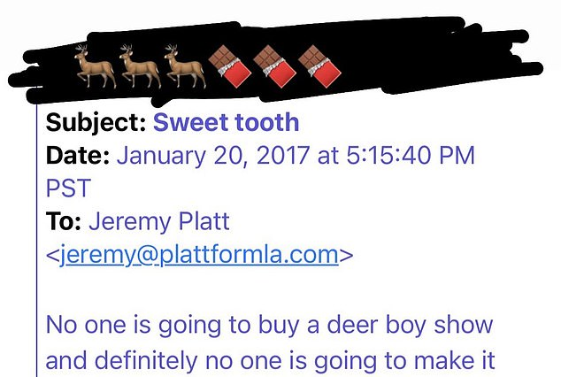 Ouch! 'No one is going to buy a deer boy show and definitely no one is going to make it,' read the dismissive text of a rejection email whose sender had been blacked out