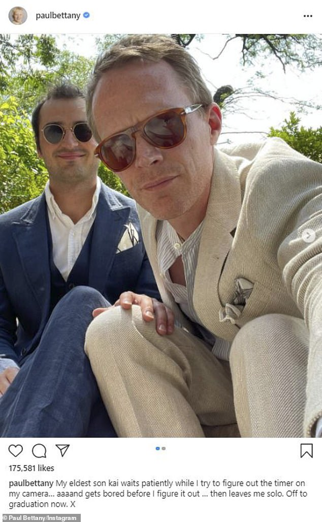 Bonding: He also posed with his stepson Kai, whom he raised with his wife Jennifer Connelly, 50, as they got ready for the graduation ceremony