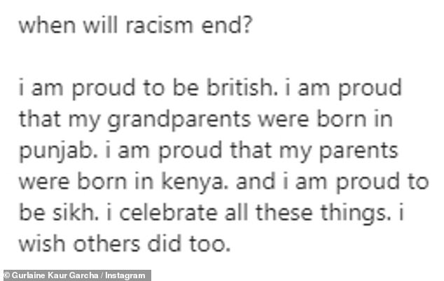 Struggle: Sharing a candid post to Instagram on Monday alongside an image with a 'say no to racism' caption, she said:''It upset me, and as a result of being upset I felt weak'