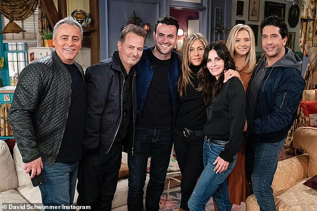 Pals: Schwimmer posted behind the scenes pictures from the Friends Reunion; this image included Matt LeBlanc, Matthew Perry, Aniston, Courteney Cox and Lisa Kudrow