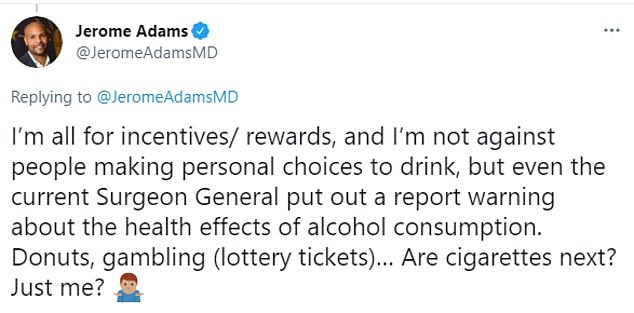 Adams referenced a 2016 report written under current surgeon general Vivek Murthy