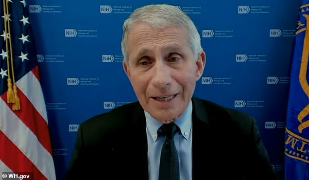 Dr Anthony Fauci warned during a press conference on Tuesday (pictured) that the Indian variant is overtaking the UK and that the same could occur in the U.S. if people don't get vaccinated