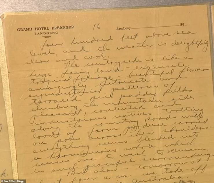 The handwritten, 17-page letter is postmarked just eight days before the duo issued their last radio call from somewhere over the Pacific Ocean. It was mailed on June 23, 1937 from the Grand Hotel in Indonesia