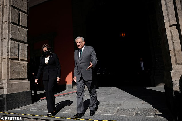 Although both Harris and Lopez Obrador are vaccinated, the vice president masked up for the meeting