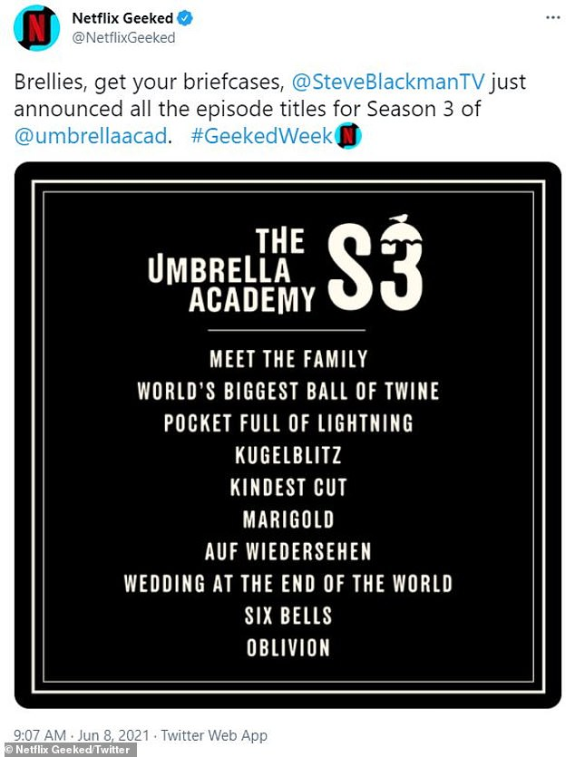 The latest:The Umbrella Academy showrunner Steve Blackman revealed the titles for the 10 episodes of the show's third season Tuesday