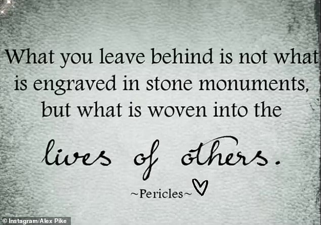Profound:She then shared another quote: 'What you leave behind is not what is engraved in stone monuments, but what is woven into the lives of others'