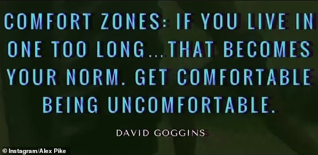 Hmm: Alex earlier shared two other posts on Instagram, one of which read: 'Comfort zones: If you live in one too long, that becomes your norm. Get comfortable being uncomfortable'