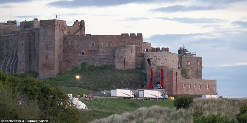 On location: The actor, 78, was seen in Newcastle, as he cycled along the banks of the River Tyne, 50 miles from where production is taking place on the sequel at the supposedly haunted Bamburgh Castle [pictured on Tuesday]