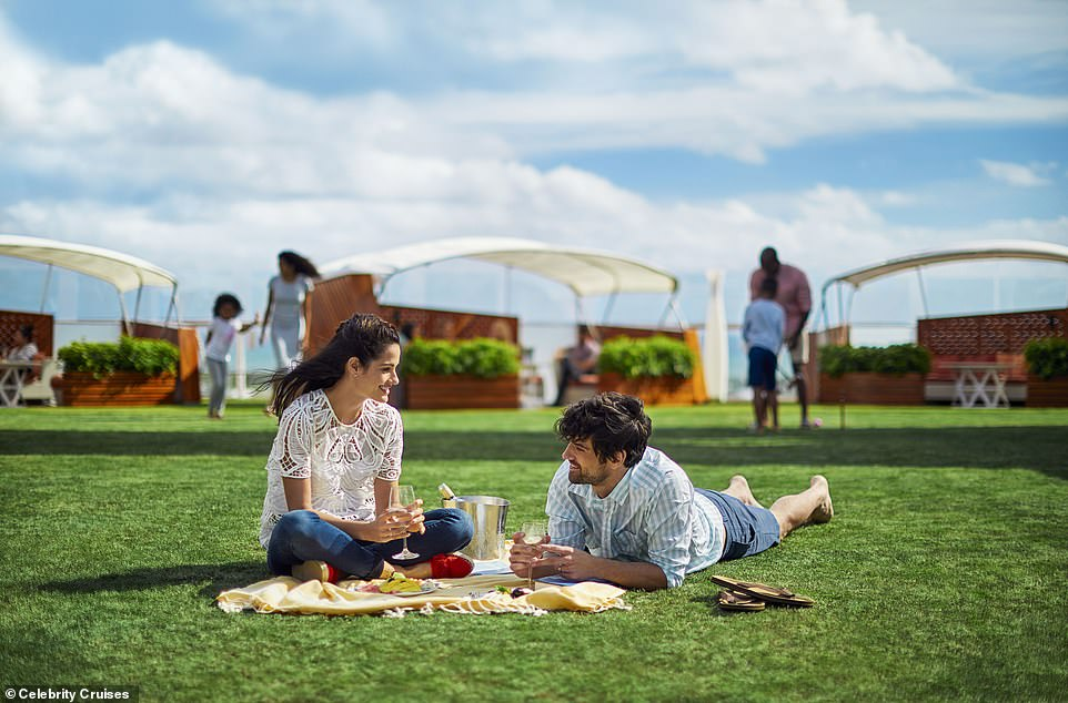 On Celebrity Cruises' Solstice-series ships, guests can enjoy the 'lawn club', which features real turf