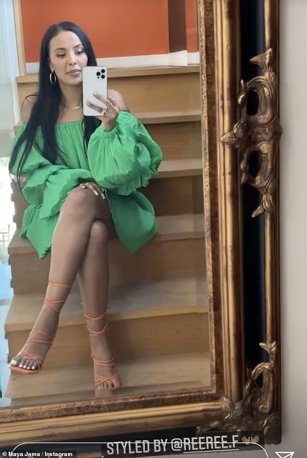 Gorgeous: The beauty's Nasty Gal ensemble had a puff sleeve detail and she colour blocked the vibrant dress with square toe orange lace up heels
