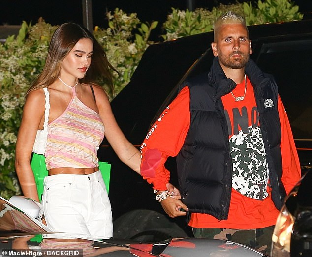 Going strong:Scott Disick and Amelia Hamlin were seen holding hands after a dinner date in Malibu on Tuesday