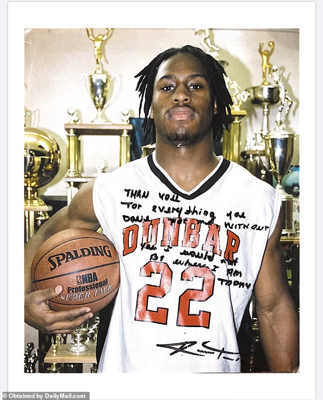 The star athlete managed to clean up his act in high school and became a letterman in football, basketball, and track & field at Dunbar High School