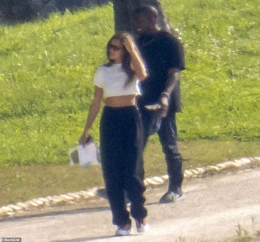 Romantic stroll: The pair were seen standing close together as they took in the idyllic countryside