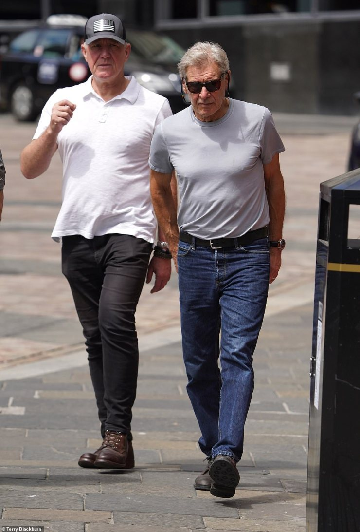 There he is: The film legend was seen strolling around Newcastle's Quayside with a bodyguard