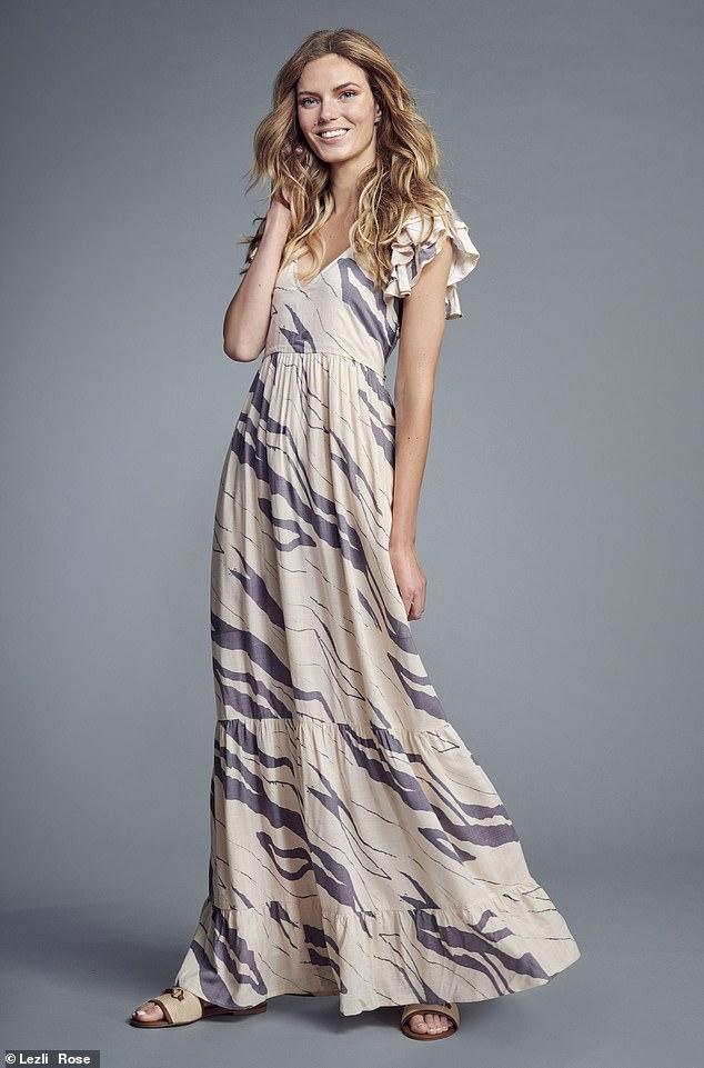 Zebra maxi dress, £62, Savannah Miller x Next Next.  Co.UK;  sandals, £75, dune london.com