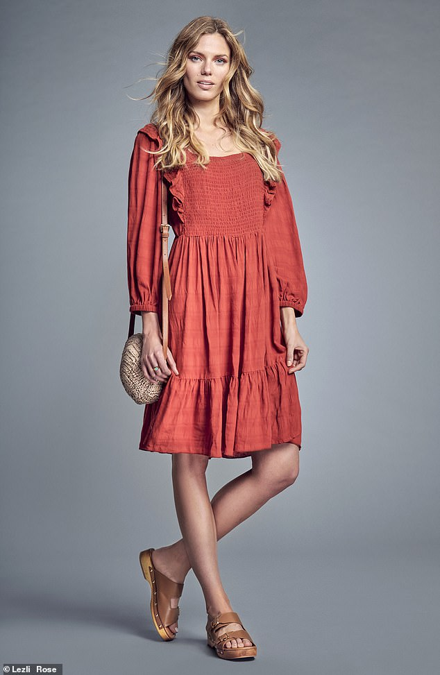 Terracotta dress £49, Savannah Miller x Next, and bag, £26, next.co.uk;  sandals, £85, dune london.com