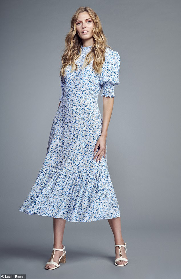 Ditsy Floral Puff Sleeve Midi Tee Dress, £69, M&S x Ghost at marks andspenser.com;  heels, £75, dune london.com
