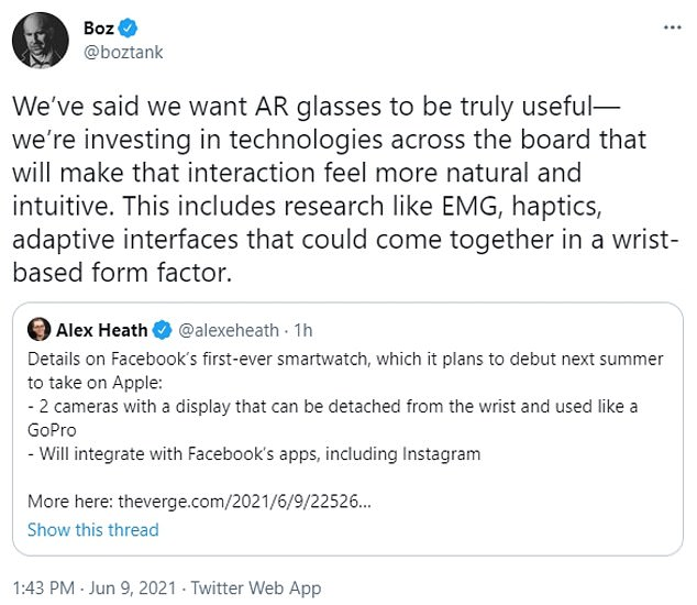 Andrew Bosworth, Facebook's vice president of augmented reality and virtual reality, tweeted that the company is indeed exploring a 'wrist-based form factor' to go along with the company's AR glasses