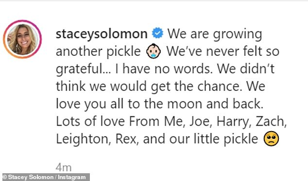 Another pickle pending:Captioning the snap, she penned: 'We are growing another pickle. We've never felt so grateful... I have no words.