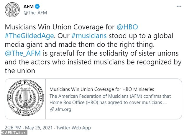 Scandal: Last month, HBO was forced to cover benefits for musicians working on The Gilded Age after the American Federation of Musicians filed a charge for unfair labor practices