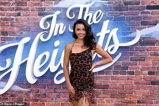 Wow! Vanessa Bauer showcased her slender legs and honed figure in a leopard print dress on Wednesday as she made her grand entrance at the In The Heights screening in Wandsworth, London
