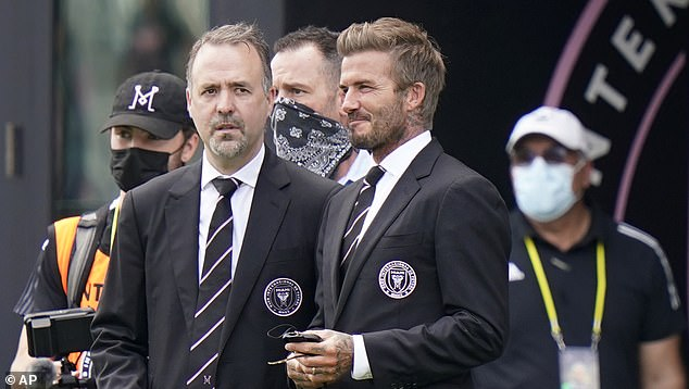 Inter Miami director Jorge Mas (left) claims David Beckham's MLS side could buy Lionel Messi