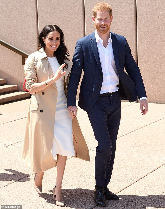 Family: Harry criticised his family, accusing them of 'total neglect' when his wife Meghan was feeling suicidal amid harassment on social media (pictured with Meghan in 2018)