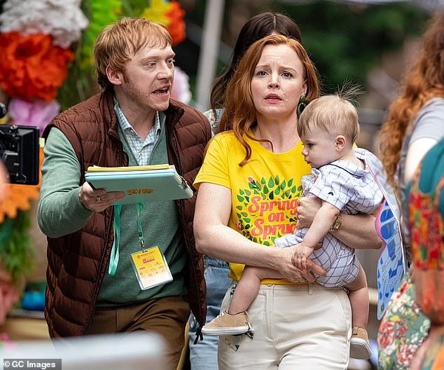 Tension: Rupert Grint put his thespian skills to good use on Wednesday as he debated with his onscreen sister Lauren Ambrose in a new scene for the TV series Servant, which was filmed in Philadelphia, Pennsylvania.