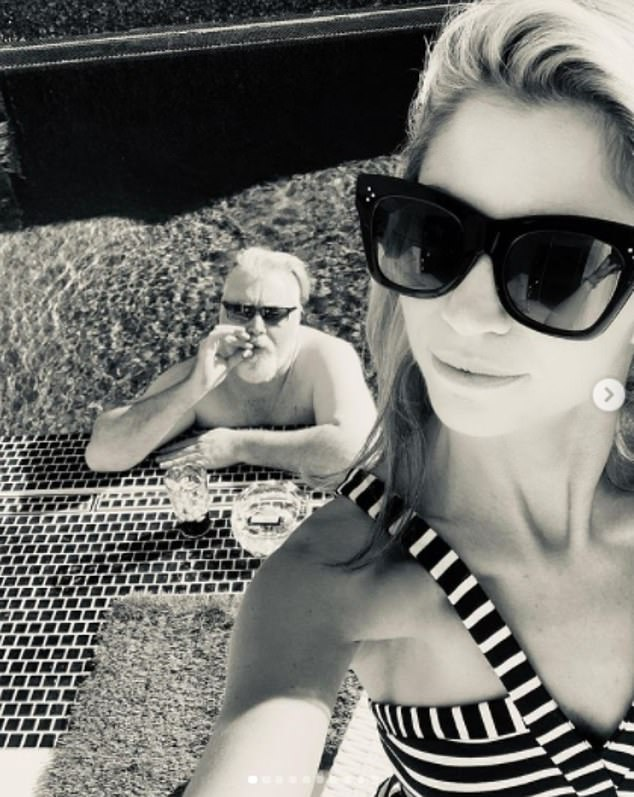 Sweet snaps: In one picture, which appears to be taken in LA, Kyle is seen mucking around in an infinity pool.In January last year, Kyle and Tegan went public with their romance