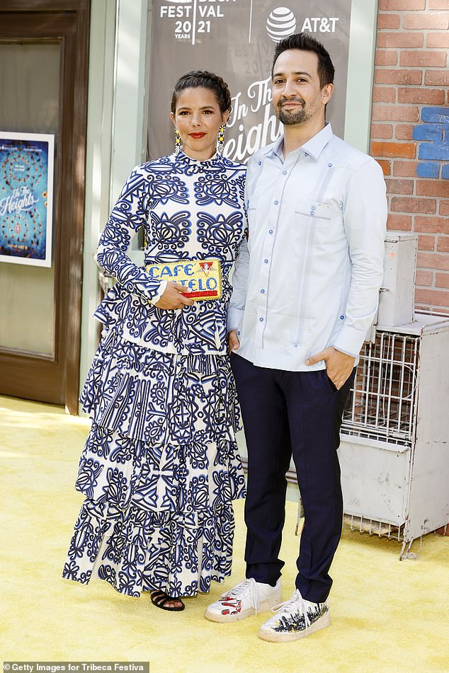 The couple: His wife joined the writer in the celebrations, which he has been married to since 2010 and shares two children