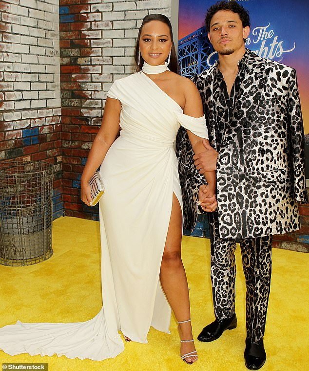 Side by side:Anthony Ramos posed with his fiancee Jasmine Cephas Jones when he posed at his movie In The Heights' premiere at the Tribeca Festival this Wednesday