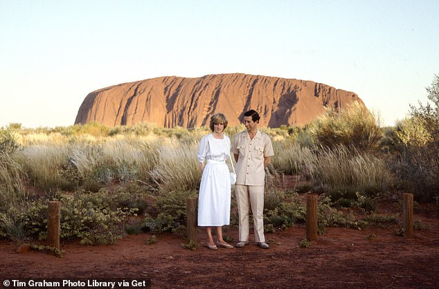 On tour: The royal couple first visited Australia together in March 1983, and according to a report by Vogue in November, the monarchy was worried about how Diana would handle the high-pressure tour. Pictured together in Uluru in March 1981