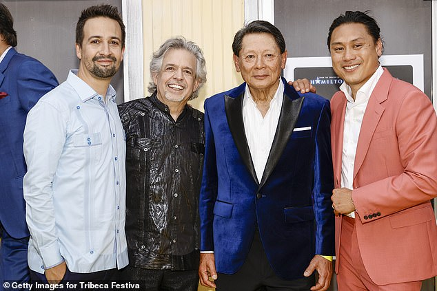 Synopsis: The story unfolds over three days after the characters' lives intersect in a Dominican neighborhood (Pictured LR: Miranda, his father Louis, Lawrence Chu, and film director John M. Chu)