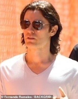 Showman: Jared, 49, looked casual in a white T-shirt, dark blue jeans and sunglasses
