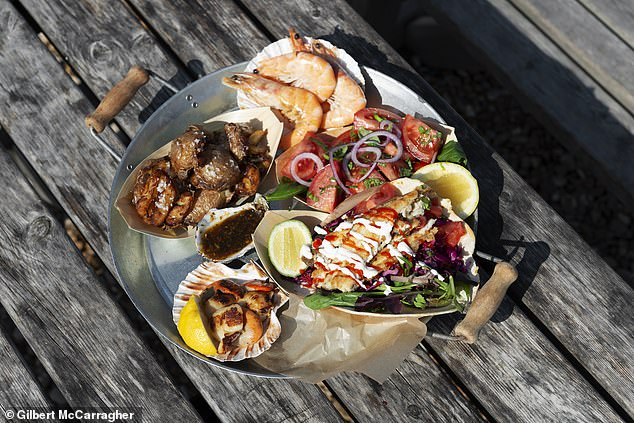 Some of the food on offer at the Dungeness Snack Shack in Kent. Menus are based on catches made by the owners' two boats