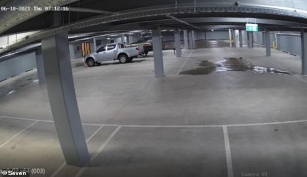 Water is seen slowly spilling into the underground car park in Traralgon in Victoria's Gippsland region on Thursday morning