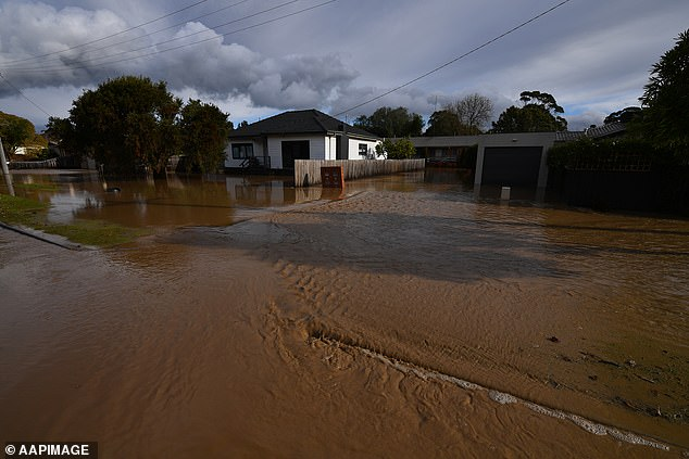 Flood water seen surrounding a house in Traralgon in Victoria