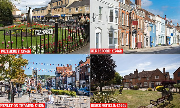 Huge premiums: Buyers in market towns such as Wetherby, Alresford, Henley on Thames and Beaconsfield pay hundreds of thousands more than the average in the rest of their counties