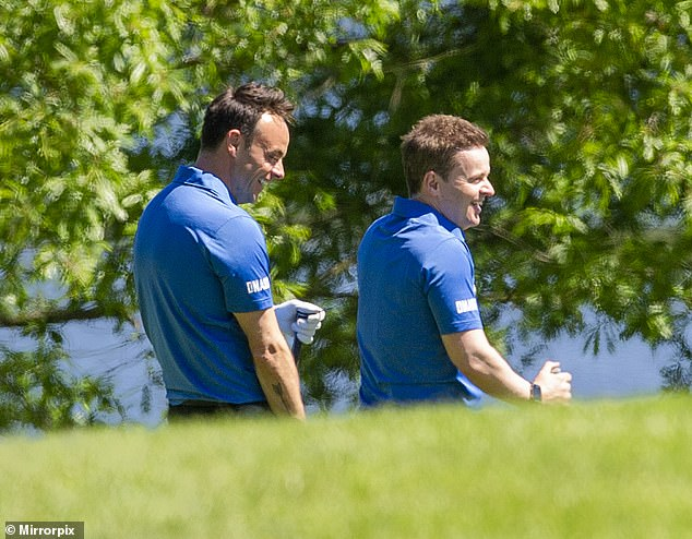 Jovial:The presenter, enjoyed a booze-free celebration by heading out for a round of golf with Dec and a select few friends