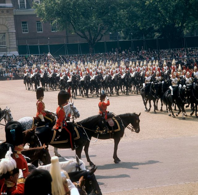 1974 — A REGAL MOMENT:Queen Elizabeth II takes the salute on Horse Guards Parade during the Trooping the Colour ceremony.