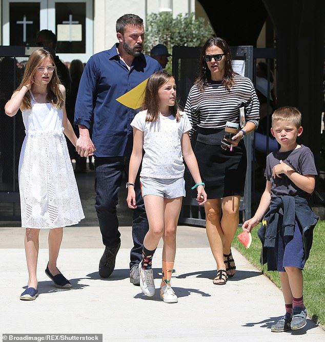 Fine:And another source told Entertainment Tonight : 'Garner is accepting of Ben and there is no animosity. As long as Ben stays on track and keeps the situation healthy, especially regarding the kids, then Jen is happy.' Seen in 2019 with the children