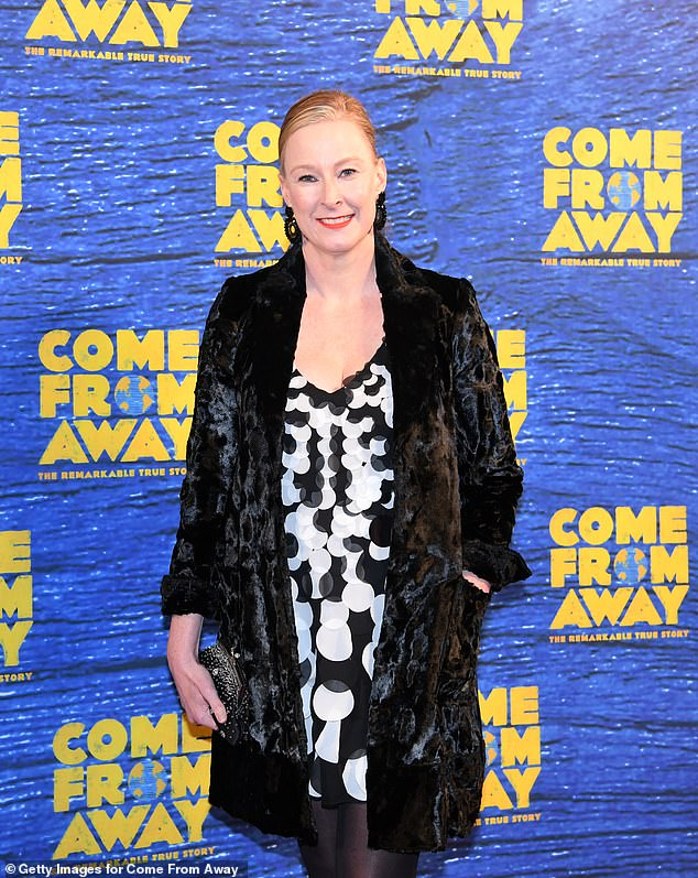 Swinging '60s: Leigh Sales stepped out in a retro-inspired black and white disc mini-dress, which she wore under a black faux fur coat